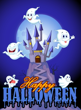 cute background: Scene with Halloween ghost on castle background