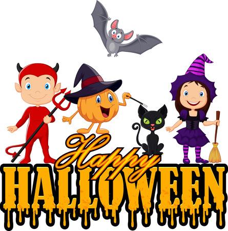 brujas caricatura: Feliz Halloween con ni�o peque�o la naturaleza y el traje de la bruja y feliz animales