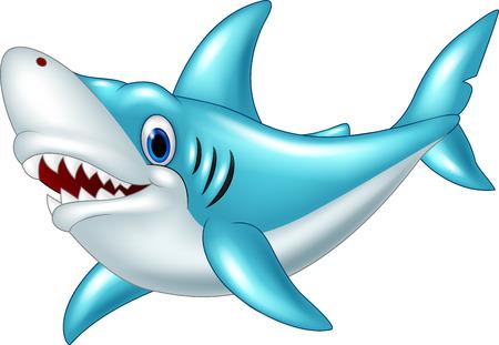 shark cartoon: De dibujos animados estilizada tiburón enojado sobre un fondo blanco Vectores
