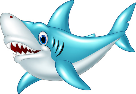 sea creatures: Stylized cartoon angry shark on a white background