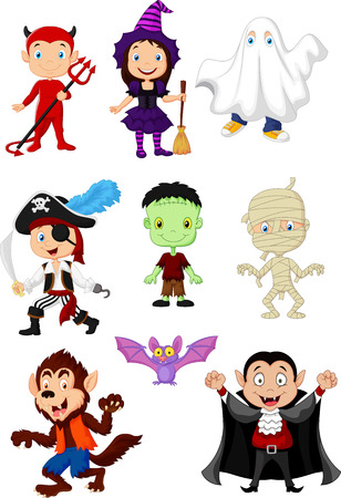 cartoon vampire: Cartoon children with Halloween costume