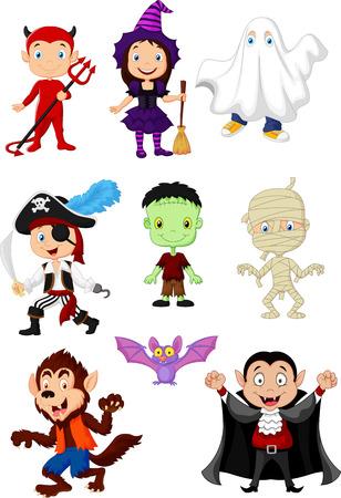 brujas caricatura: Los niños de dibujos animados con disfraz de Halloween Vectores