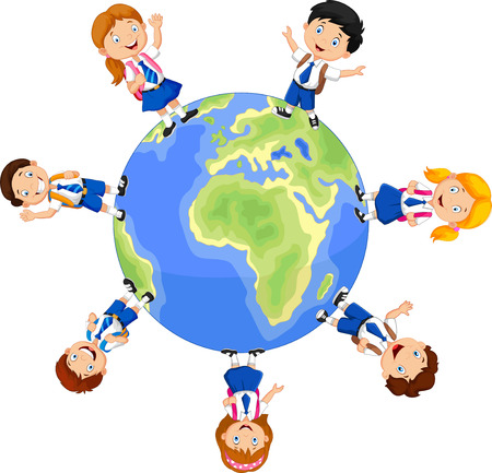 crowd happy people: Children over planet isolated over white background, school Illustration