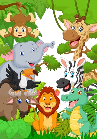 cute animals: Collection animal safari in the jungle