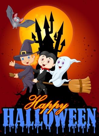brujas caricatura: Los niños de dibujos animados y fantasmas con gran fondo de la luna