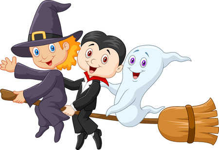 cute ghost: Little children and ghost fly with broom