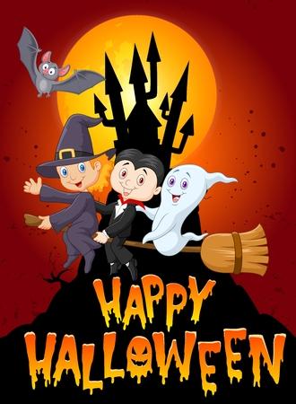 brujas caricatura: Feliz Halloween con ni�o peque�o y el fondo fantasma luna grande Vectores