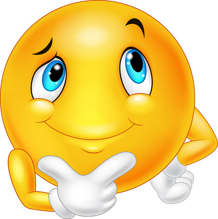 Emoticon happy face are thinking and posing Illustration