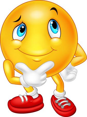 carita feliz caricatura: Emoticono estaba pensando mientras está de pie