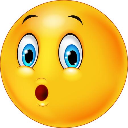 eye balls: Surprised emoticon face cartoon on white background Illustration