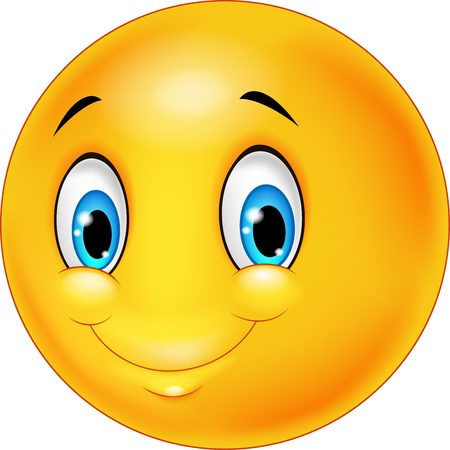 Cartoon emoticon smile on transparent background