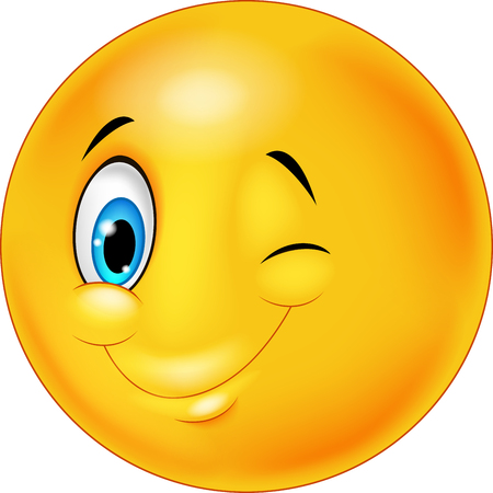 Smiley happy emoticon cartoon with eye blinking Stock Vector - 45168947