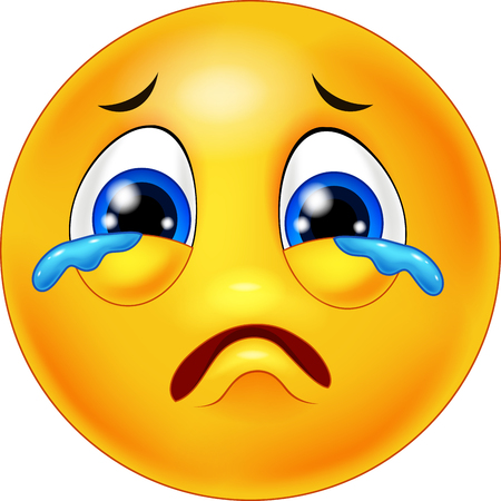 sad: Crying emoticon cartoon