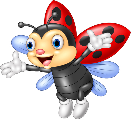 Illustration of ladybug waving hand with wing