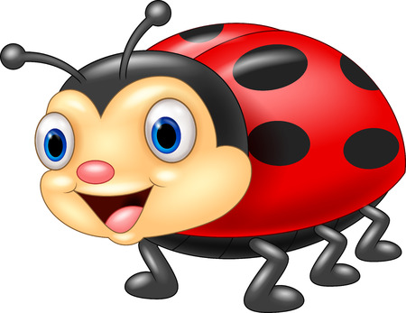 insecto: Historieta linda de la mariquita Vectores