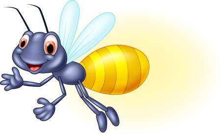 Adorable firefly cartoon waving