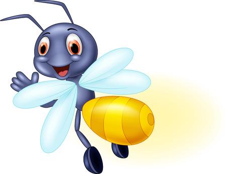 Cute firefly cartoon waving Vettoriali