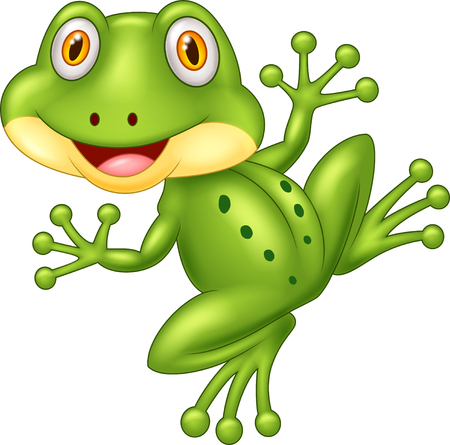 croaking: Cartoon cute frog illustration