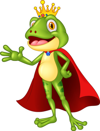 grenouille: Cartoon adorable main roi grenouille agitant Illustration