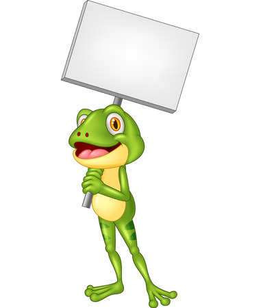 frog: Cartoon adorable frog holding blank sign Illustration
