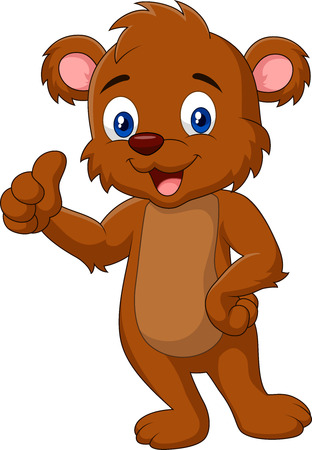teddy bear cartoon: Cartoon teddy bear giving thumb up Illustration