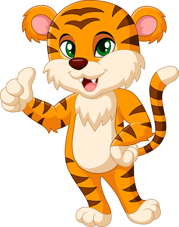 tendency: Cute tiger cartoon giving thumbs up