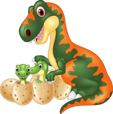 dinosaur egg: Cartoon tyrannosaurus with baby dinosaur Illustration