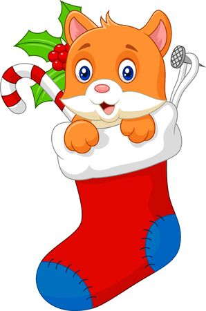 sock: Cartoon animal cat in the sock christmas