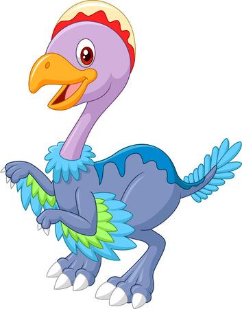 bony: Cartoon happy dinosaur archaeopteryx, isolated on white background