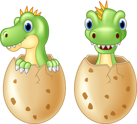 paleontological: Cute baby dinosaur hatching, isolated vector on white