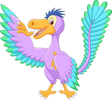 Cartoon archaeopteryx waving Vektorové ilustrace