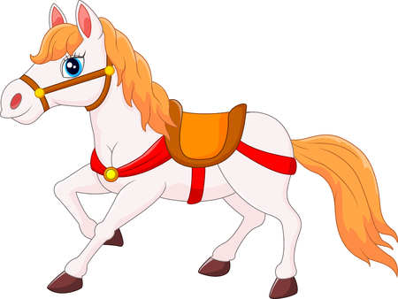 smirk: Happy horse cartoon, vector illustration Illustration