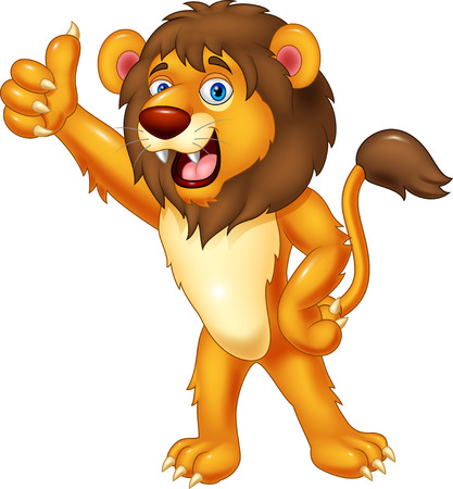 animal vector: Lion gives thumb up