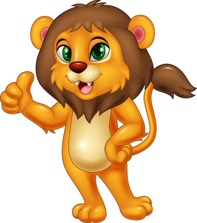 lion cartoon: Illustration of lion giving thumbs up