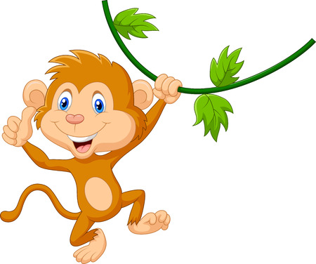 thumping: Cute monkey hanging giving thumb up
