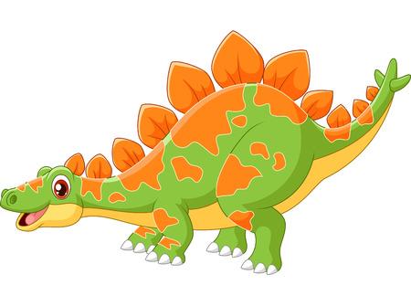 Cartoon big dinosaur Stegosaurus 일러스트