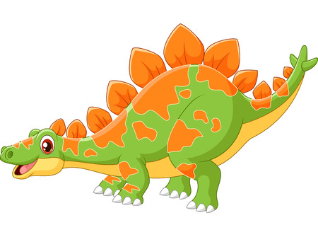 Cartoon big dinosaur Stegosaurus Illustration