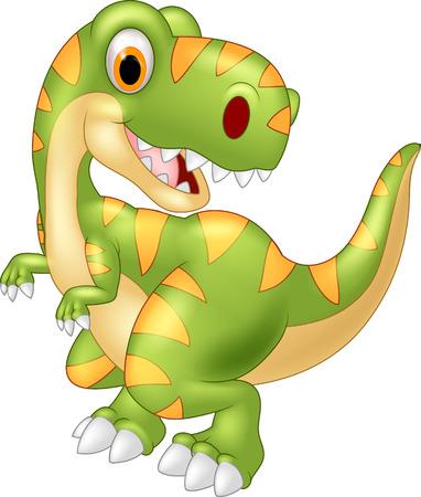 Cartoon dinosaur tyrannosaurus regarde le côté