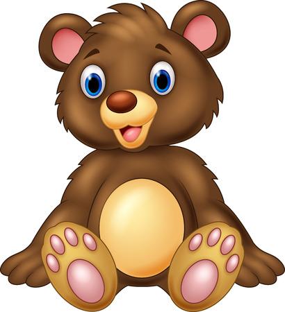 teddy bear cartoon: Teddy bear sitting and adorable with cute smile