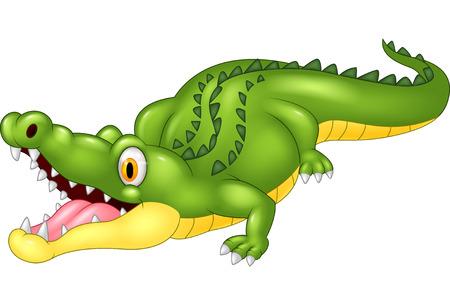 timid: Cartoon crocodile happy Illustration