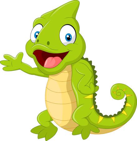 chameleon lizard: Cartoon cute Chameleon waving hand on white background