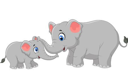 bonding: Elephant mother and calf walking while bonding relationship