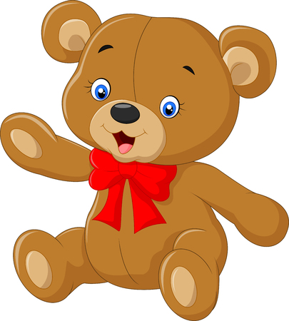 cartoon bear: Teddy bear A illustration of a cute cartoon teddy bear waving hand