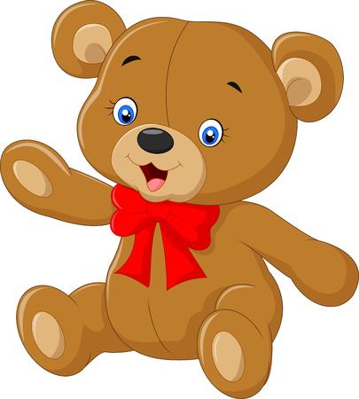 Teddybeer Een illustratie van een leuke cartoon teddybeer golvende hand Stock Illustratie