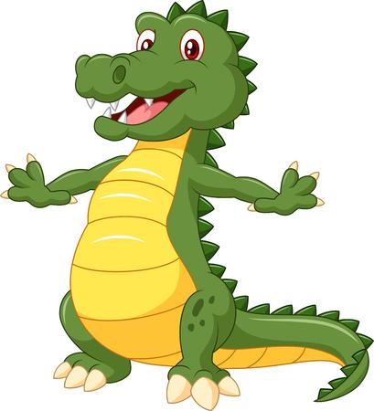 posing: Happy cartoon crocodile posing Illustration