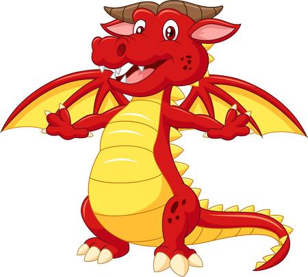 dragones: Dibujos de dragón adorable en el fondo blanco