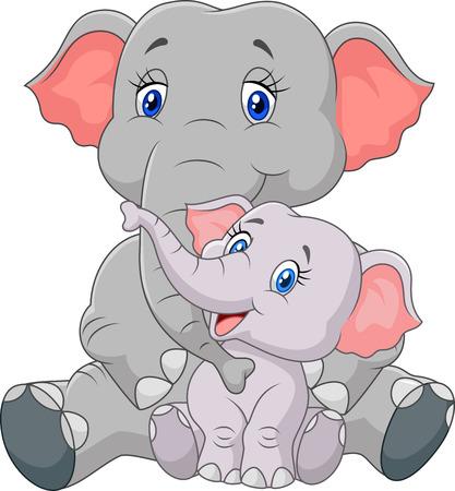 baby sitting: Mom and baby elephant sitting on white background Illustration