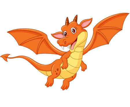 mythological character: Cartoon cute orange dragon flying isolated on white background