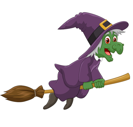 Vector illustration of Sinister witch was riding broomstick on white background