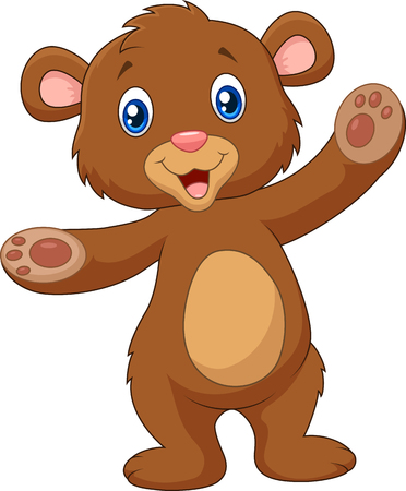 Vector illustration of Cartoon happy baby brown bear waving hand